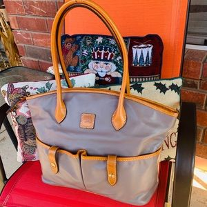 Dooney & Bourke Taupe & Caramel Leather Tote Bag